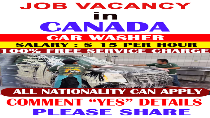 canada available car wash job opens