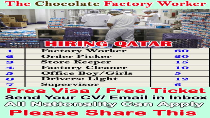canada chocolate factory hiring workers